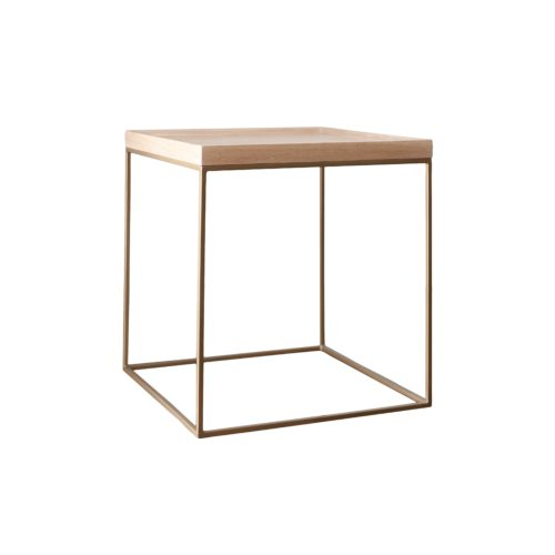 Cube Side Table (Brass & Oak) LR